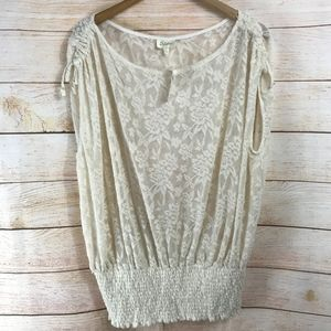 Deletta Anthropologie Womens Blouse XE Ivory Lace